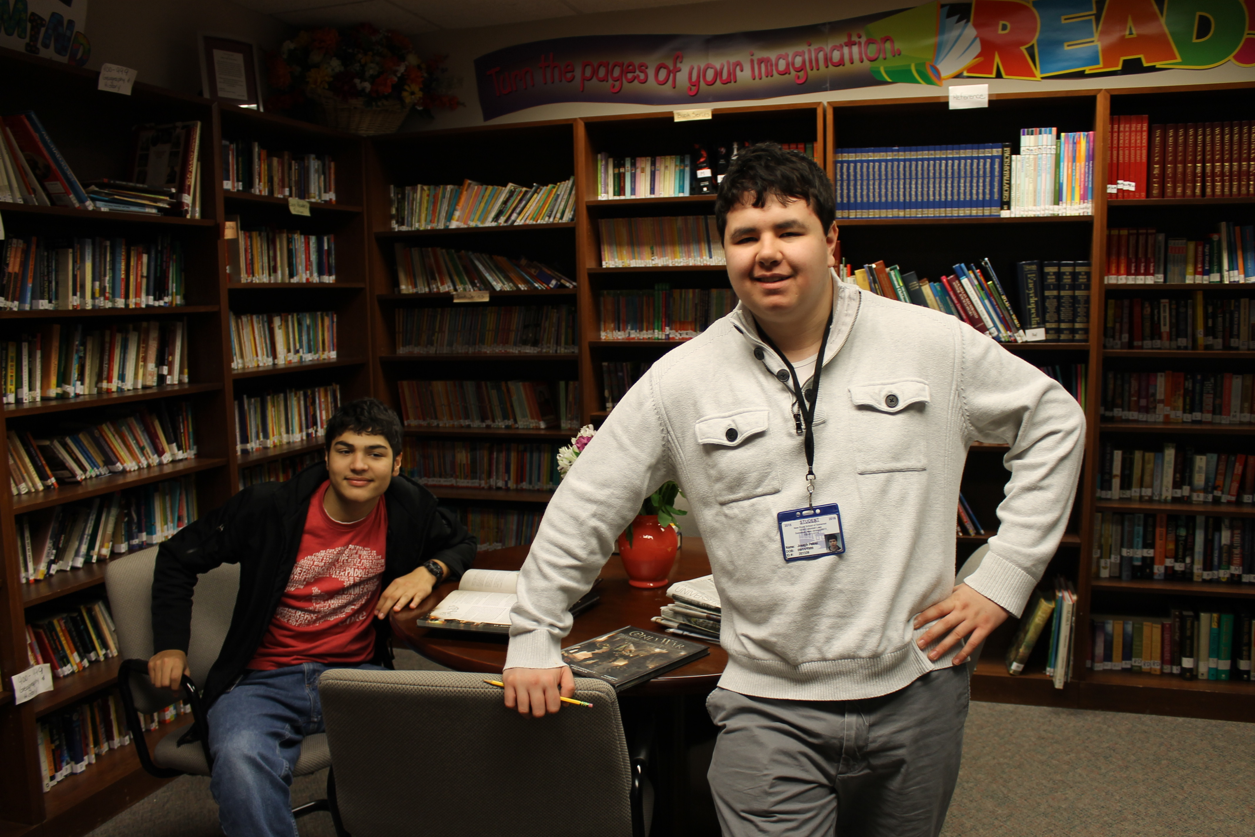 2 male students in library at Somerset NJ private special education school - New Road School