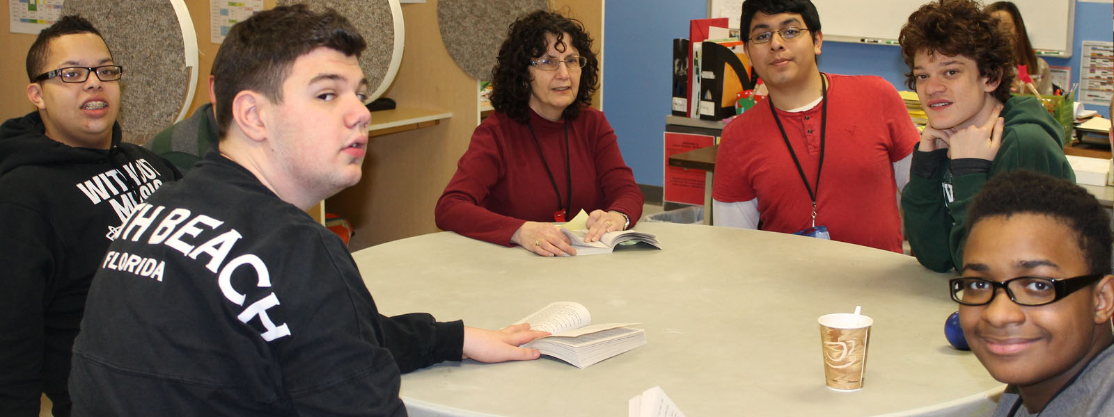Teacher with students at New Road School Somerset - - private special education school in Somerset NJ