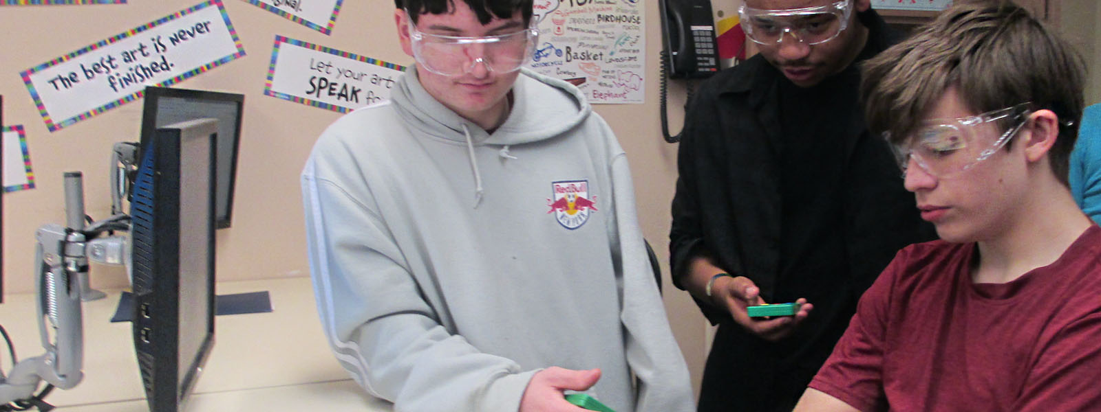 Male high school students working in science lab - private special education school in Lakewood NJ